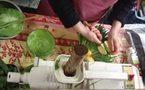 Du jus d'herbe bio et frais au Marché Bio Raspail