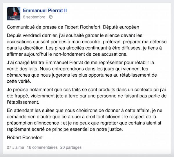 Communiqué désormais en première position sur le compte Twitter du député européen avec une redirection vers Facebook.
