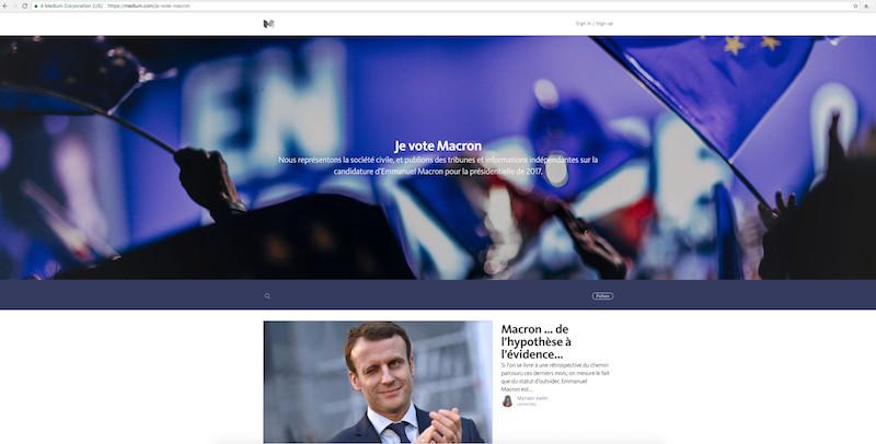 """https//medium.com : """"Je vote Macron Nous représentons la société civile, et publions des tribunes et informations indépendantes sur la candidature d'Emmanuel Macron pour la présidentielle de 2017""""."""