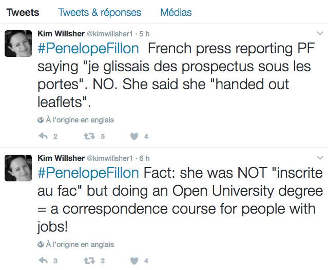 Les corrections de Kim Wellsher à France 2 « Envoyé Spécial » © capture d'écran Twitter