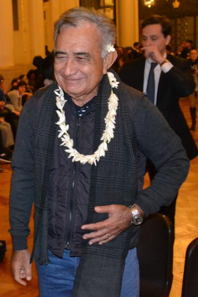 Oscar Temaru à la mairie du 5e arrondissement de Paris le 14/02/2017 - Photo VD/PT
