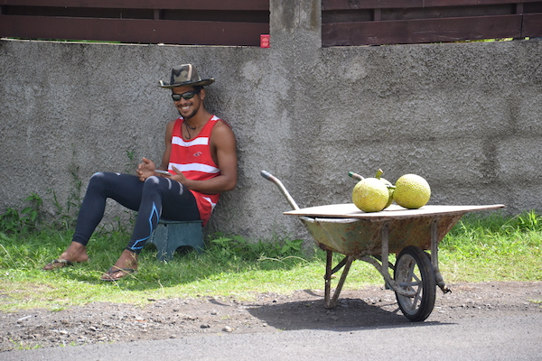 Vendeur de 'maiore' (fruit de l'arbre à pain) au bord de la route, une scène du quotidien à Tahiti © VD/PT Sept. 2016.
