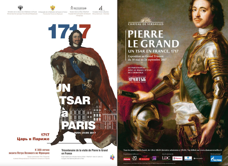 A gauche, « 1717 : Un tsar à Paris » - A droit, « Pierre Le Grand, un Tsar en France. 1717 »