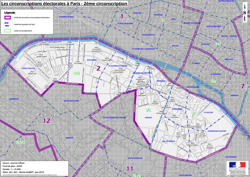 Cliquer pour agrandir - La 2e circonscription de Paris © Ministère de l'intérieur.