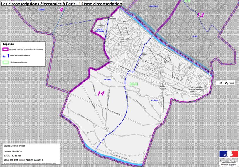 Cliquer pour agrandir - La 14e circonscription de Paris (c) Ministère de l'intérieur.