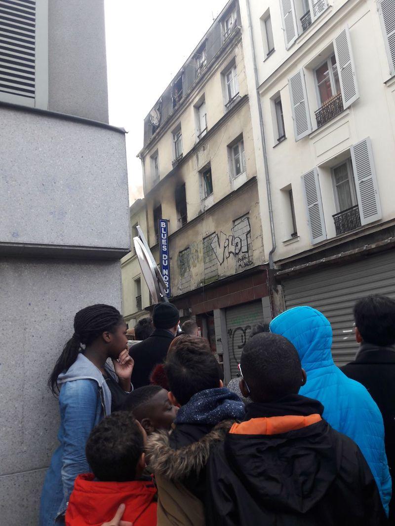 Incendie au 19 rue Caillié 75018 Paris le 13 janvier 2018 vers 14h © DR