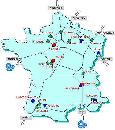 (c) Ministère du développement durable : le stockage du gaz naturel en France. Les difficultés d'approvisionnement, au Royaume-Uni fin 2005 ou début 2006, lors des baisses d'importations en provenance de Russie, ont montré l'importance du stockage.
