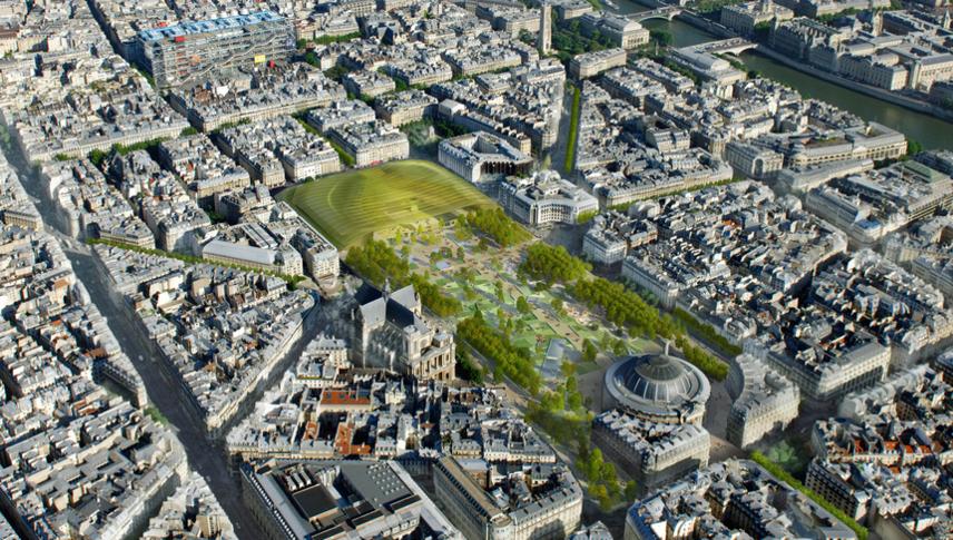 © Perspective aérienne sur le projet de rénovation des Halles : Studiosezz.com / Photographie : Philippe Guignard (Air Images)