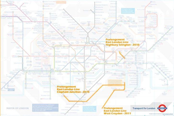 Le Grand Londres (1579 km²) auquel les sénateurs se sont aussi intéressé pour étudier le projet de loi du Grand Paris (1635 km²) : ici les nouvelles lignes d'ici à 2015