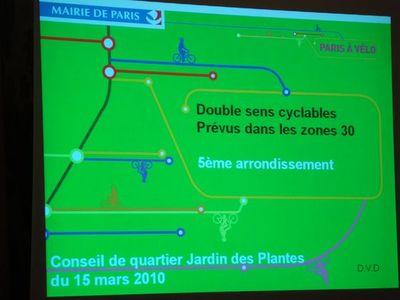 La dernière présentation du double-sens cyclable lors du conseil de quartier Jardin des Plantes du 16 mars