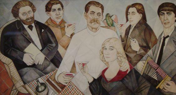 MAREVNA, hommage aux amis de Montparnasse (Volochine, Soutine, Gorki, Marevna, Ehrenbourg, Zadkine), Paris, 1915, huile sur panneau, 160x305 cm. Musée du petit Palais, Genève.
