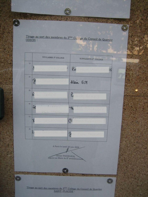 Les résultats du tirage au sort du collège des habitants du conseil de quartier Odéon en date du 23 juin 2008