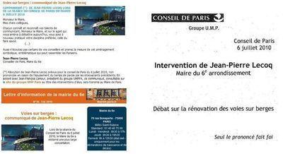 Le communiqué rectifié sur le site de la mairie du 6ème, mais non sur la Lettre d'informations du 6ème déjà expédiée via Internet, et le communiqué sur le site de l'UMPPA.
