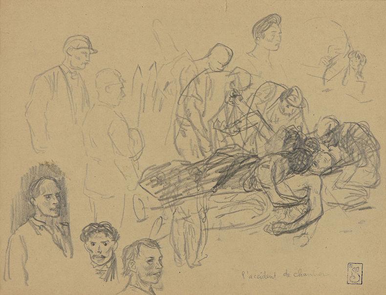 L'accident de chantier par Théophile-Alexandre Steinlen (20 novembre 1859 - 14 décembre 1923) artiste Suisse naturalisé Français © Jaimelart sous CC BY-SA 4.0