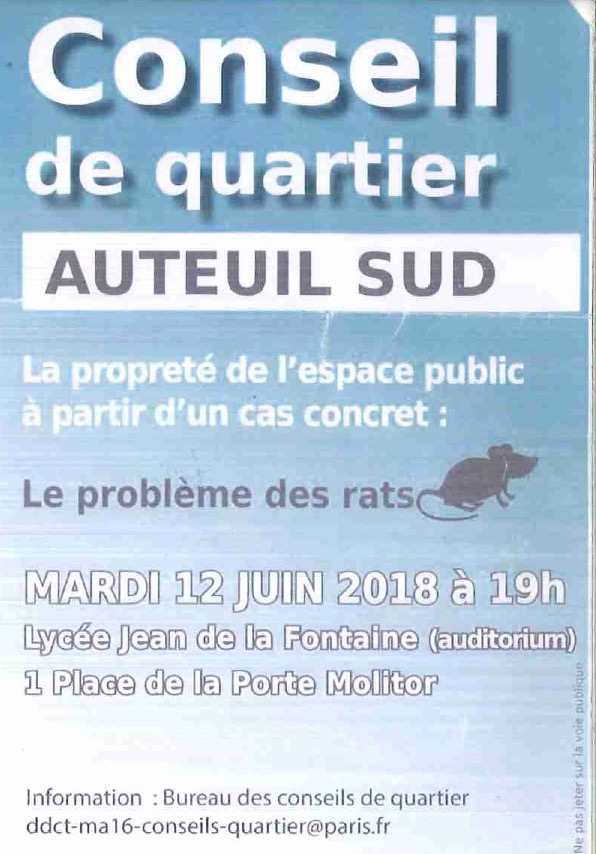 Le 12 juin 2018 : Les rats à l'ordre du jour du conseil de quartier Auteuil Sud dans le 16e arrondissement.