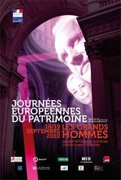 L'affiche des Journées européennes du patrimoine 2010 © Design graphique : La Maison. Photos : Paul Hudson - Getty Images, Valentin Casarsa - iStockphoto, Jean-Christophe Benoist
