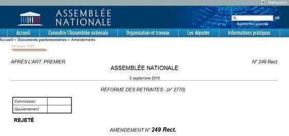 Cliquez sur la photo pour lire l'amendement rejeté