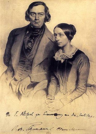 Robert et Clara Schumann - Lithographie d'Edouard Kaiser, Vienne 1847.