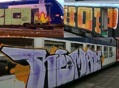 Train et RER tagués.