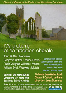 26 et 27 mars 2011 : le Chœur Oratorio à Sainte Clotilde