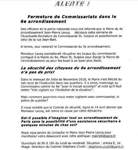 Exemplaire du tract anonyme envoyé à la rédaction de Paris Tribune par la mairie du 6e arrondissement de Paris.