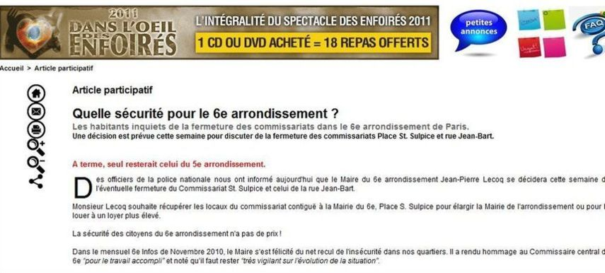 L'article participatif du 27 février 2011 commenté le 28 février 2011 par la mairie du 6e arrondissement de Paris.