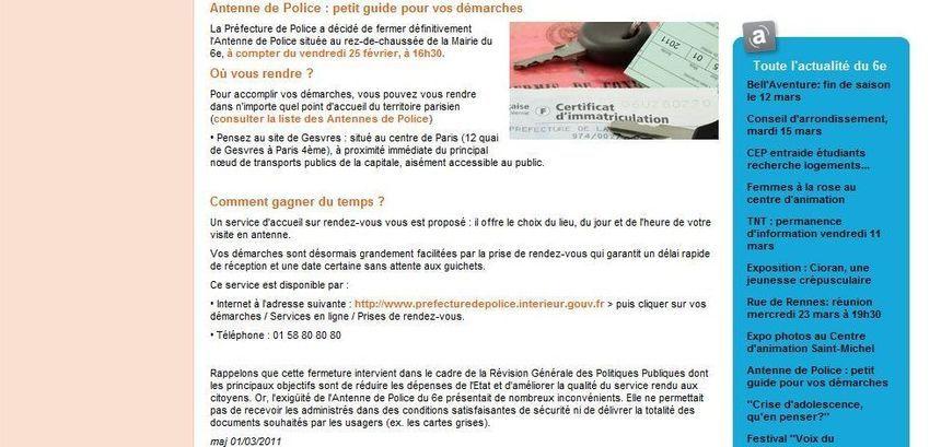 Antenne de police : petit guide pour vos démarches publié le 1er mars 2011 sur le site de la mairie du 6e arrondissement de Paris.