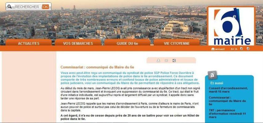 Communiqué de la mairie du 6e arrondissement publié le 9 mars 2011 sur le site de la mairie du 6e.