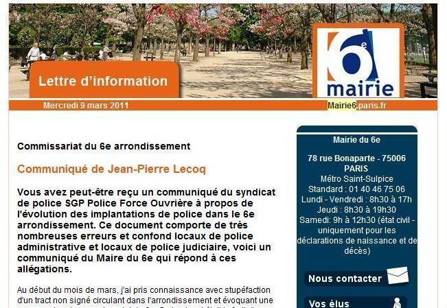 Lettre d'information envoyée par mail le 9 mars 2011 par la mairie du 6e arrondissement.