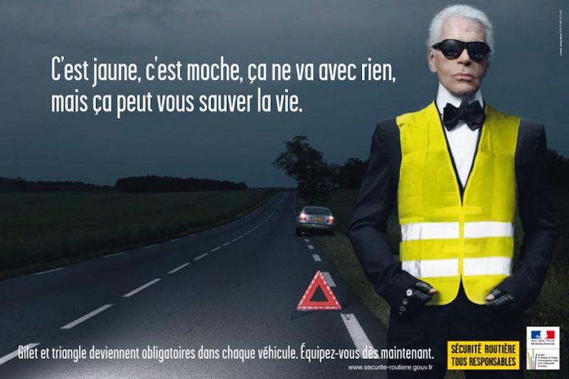 Campagne publicitaire pour le port du gilet jaune en France par Karl Lagerfeld.