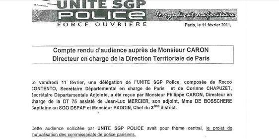 Compte-rendu d'audience du syndicat SGP Police Force Ouvrière, 11 février 2011.