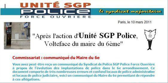 Commniqué du syndicat Unité SGP Police Force Ouvrière, 10 mars 2011.