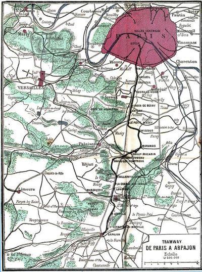 Carte de la ligne Paris - Arpajon extraite du Guide rose de 1899. Photo : Col. Renaissance & Culture.