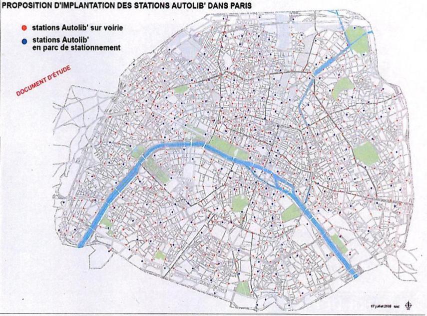 Juillet 2008 : Carte d'implantation possibles d'Autolib' à Paris, entre stations de surfaces et station dans des parkings sous terrain - Mairie de Paris.