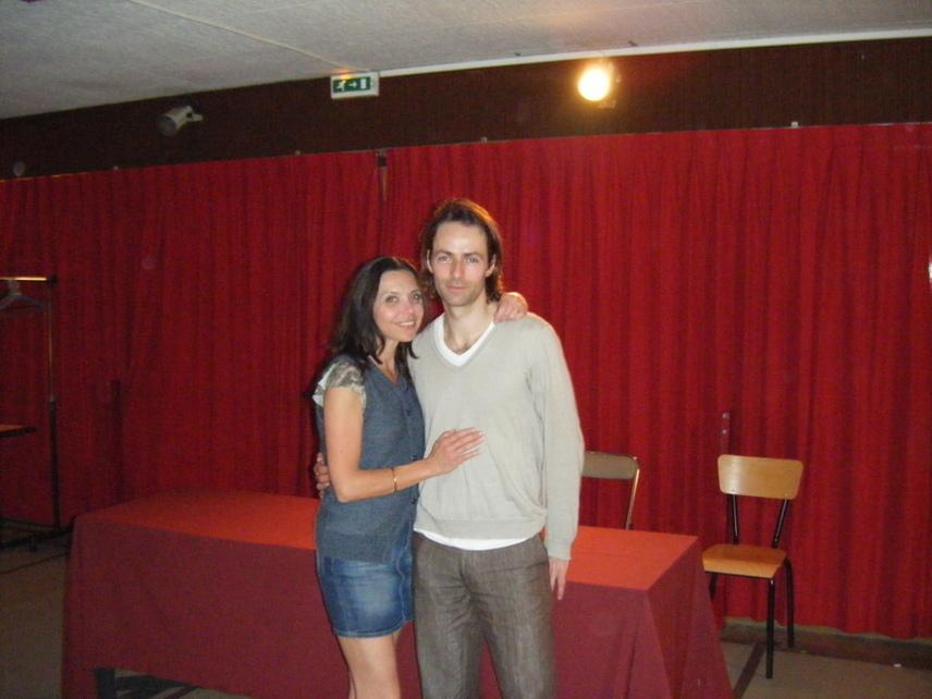 Gaëlle Billot-Danno et Xavier Clion, à l'issue du spectacle, dans la salle de répétition du théâtre du Petit Saint-Martin. Photo : Louise Wessier.