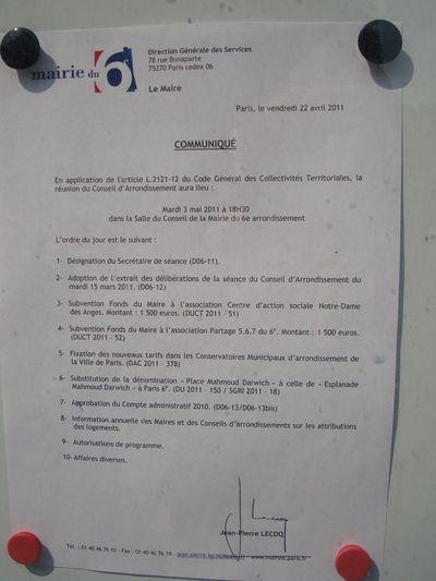 Communiqué de la mairie du 6e : l'ordre du jour du conseil d'arrondissement du mois de mai 2011.