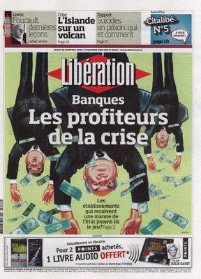 Le 22 janvier 2009, Beb Deum illustrait en couverture de Libération l'expression Aux innocents les mains pleines.