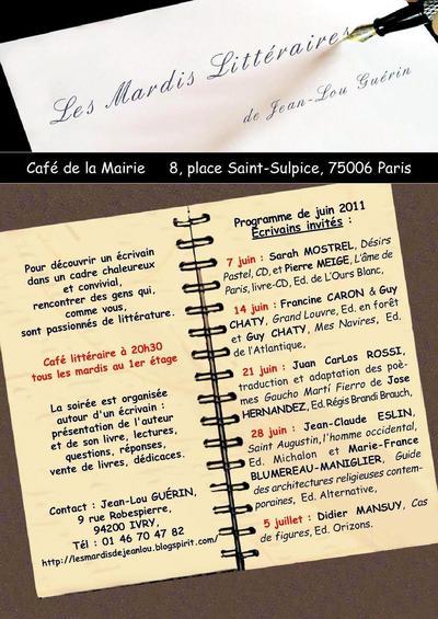Juin 2011 : Les mardis littéraires de Jean-Louis Guérin