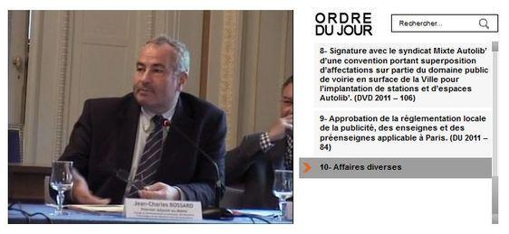 Jean-Charles Bossard lors du conseil d'arrondissement le 7 juin 2011 retransmis en direct sur Internet (c) Mairie du 6e arrondissement.