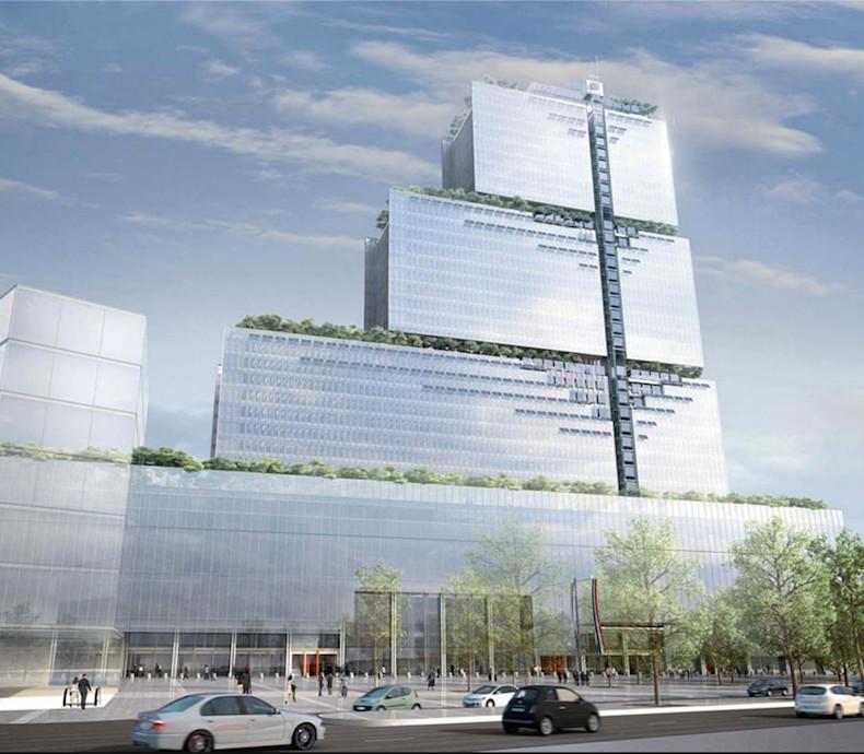 Vue de la nouvelle Cité judiciaire imaginée par l'architecte Renzo Piano, l'architecte de Beaubourg - Son coût - 2,7 milliards d'euros dans le cadre d'un partenariat avec Bouygues © Cabinet d'architectes RPBW.