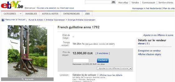 Une guillotine vendue sur ebay.be