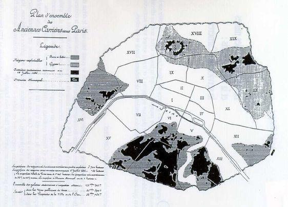 Plan d'ensemble des anciennes carrières de Paris - Octave Keller, Les carrières sous Paris, 1896.