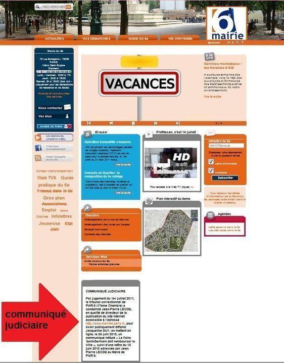 Page d'accueil du site de la mairie du 6e arrondissement de Paris. Capture d'écran du 27 juillet 2011.