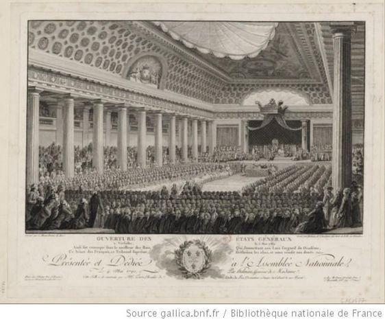 Ouverture des Etats Généraux à Versailles, le 5 mai 1789 : présentée et dédiée à l'Assemblée Nationale, le 4 mai 1790, par Helman : estampe ; dessiné par C. Monnet ; gravé par Helman ; eau-forte de A.J. Duclos.