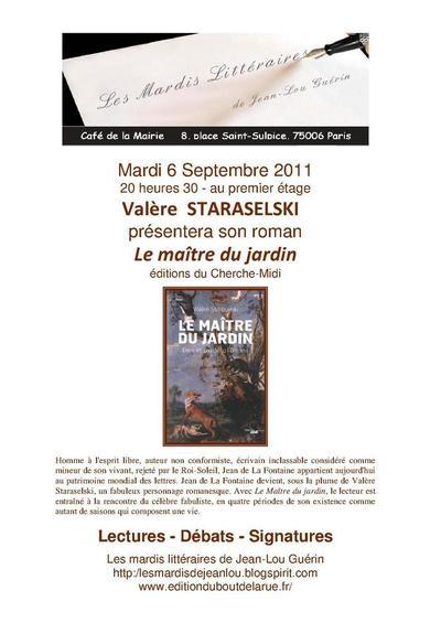 6 septembre 2011 : Mardi littéraire avec Valérie Staraselski et Jean de La Fontaine