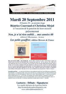 20 septembre 2011 : Mardi littéraire au café de la mairie