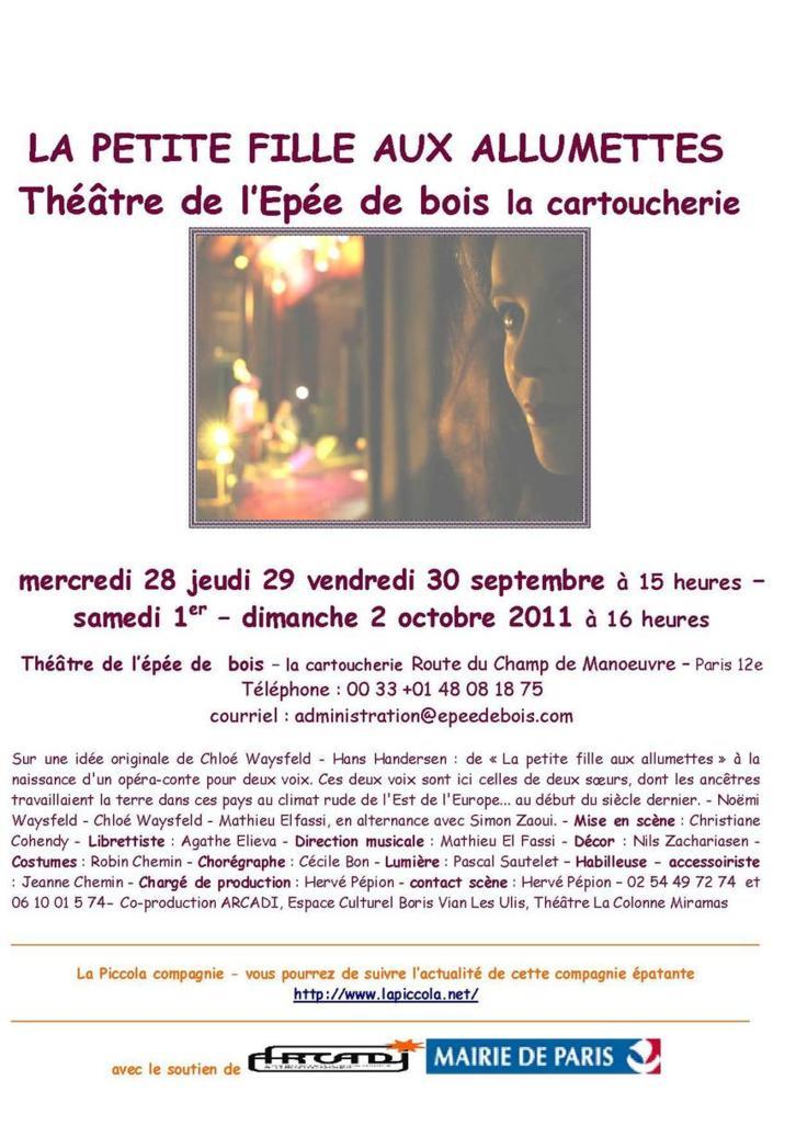 28 septembre - 2 octobre 2011 : La petite fille aux allumettes au Théâtre de l'épée de bois