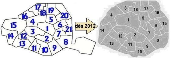 A gauche : actuelle carte des circonscriptions (c) Assemblée nationale - A droite : nouvelle carte des circonscriptions législatives à Paris.