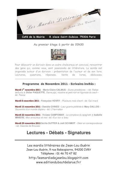 Mardi littéraire - le programme de novembre  2011 - au café de la mairie - au premier étage - place Saint Sulpice Paris 6ème