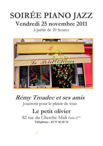 25 novembre 2011 : Soirée Piano Jazz au Petit Olivier